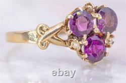 Rare Antique Victorian 12k Gold, Purple Rhodolite Garnet, Seed Pearl Estate Ring