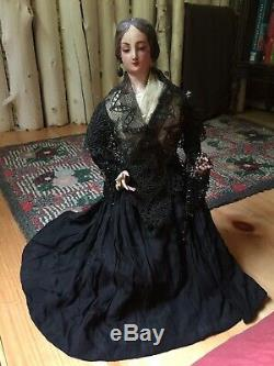 Rare Antique Victorian Mourning Doll Wood Straw Composition Hand Painted Estate