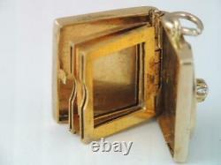 Rare Antique Victorian Solid 14k Gold & Diamond Photo Locket Book Charm Ornate