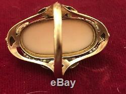Rare Estate Antique 14k Gold Coral Ring Cameo Victorian Edwardian Sea Pearls