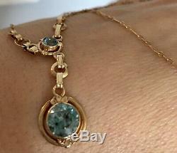 Rare Estate Antique Victorian 14k Yellow Gold Blue Zircon Pendant Necklace