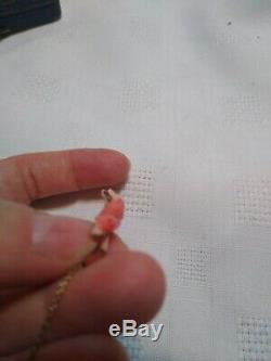 Rare! Victorian 18k Rose Gold Salmon Coral Coy Fish Tie Pin Clip Antique Estate
