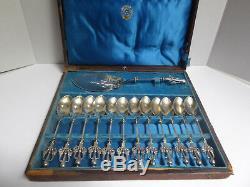 Rare Victorian Tiffany & Co Sterling Silver Ice Cream Set in Box Estate Find