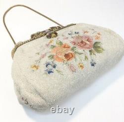 Rare Vintage Victorian Petit Point Beaded Purse Enameled Frame Floral Handbag