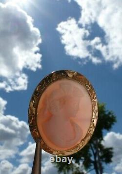 STUNNING Antique Victorian Genuine Angel Skin Coral Carved Cameo 10K Gold Brooch