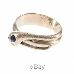 Sapphire Ruby Coiled Snake Band Ring Solid 14k Rose Gold 1880s Antique Victorian