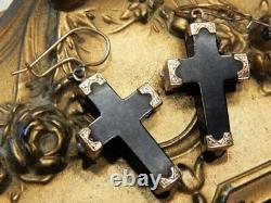 Solid 14k Gold Antique Victorian Black Cross Mourning Earrings 10k Wires ESTATE