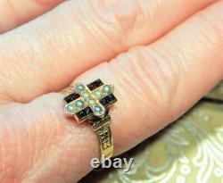 Solid 14k Gold Antique Victorian Edwardian Seed Pearl Garnet Ring Estate 6.75