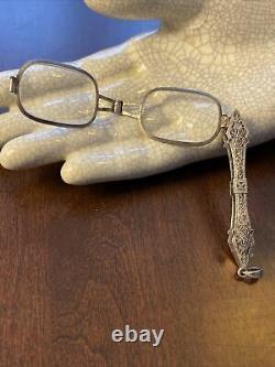 Sterling Silver Fancy Victorian Lorgnette Folding Opera Glasses Filigree Estate
