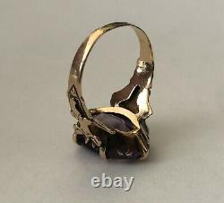 Stunning Antique Victorian 10k Yellow Gold Natural Amethyst Estate Ladies Ring
