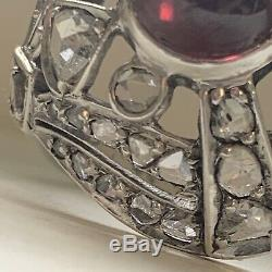 Stunning Antique Victorian Rose Cut Diamond Garnet Silver Ring Vintage Estate
