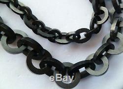 Stunning Estate 50 Antique Victorian Vulcanite Mourning Chain Link Necklace