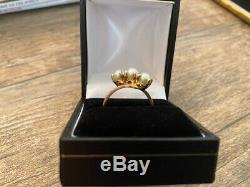 Stunning Triple Pearl 14k Yellow Gold Estate Antique Vintage Bypass Ring Size 8