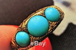Three Stone Victorian TURQUOISE STACKING Band Ring Engraved 14K Antique Estate