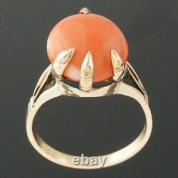 Unique Victorian Solid 14K Yellow Gold, Pink Coral Cabochon, Estate Ring