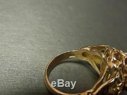 Unisex Antique Victorian Estate C1900 14K Gold Garnet Griffin Dragon Ring