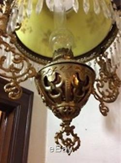 VICTORIAN 40 Brass and Glass Hanging Gas Chandelier Lamp From Mansion Estate