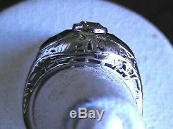 VINTAGE ANTIQUE ESTATE DIAMOND & BLUE SAPPHIRE 18K WHITE GOLD RING Size 6