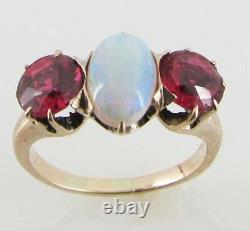 VINTAGE Victorian OPAL TOURMALINE 14K Rose GOLD Heirloom Estate Jewelry RING