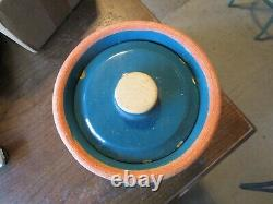 VTG Peacock Teal Green Stoneware Pickle-Canister- Pottery Crock Jar with Lid