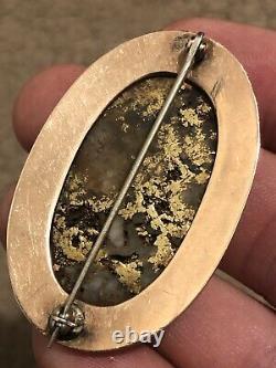 Very LARGE Antique Victorian CALIFORNIA GOLD & GOLD IN QUARTZ Pin RICH MATRIX