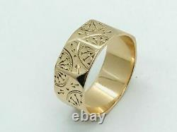 Victorian 10K Gold Decorated Octagonal Panel Cigar Band Ring Antique