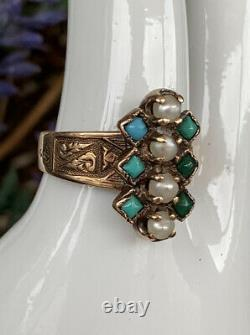 Victorian 10K Yellow Gold Seed Pearl & Turquoise Etched Victorian Ring Size 5.25