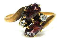 Victorian 10k Yellow Gold Garnet Rose Cut Diamond Antique Estate Ring Band