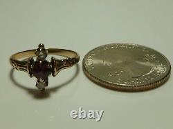 Victorian 10k Yellow Gold Rose Cut Diamond Garnet Womens Estate Ring Size 6.75