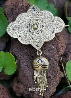 Victorian 14K Gold Pearl Enamel Taille dEpargne Tassel Brooch-Estate Jewelry 6g