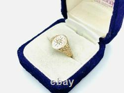 Victorian 14K Gold Signet Star Etched Diamond Ring