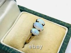 Victorian 14K Rose Gold 3-Stone Opal Ring