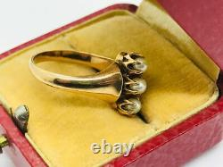 Victorian 14K Rose Gold 3-Stone Pearl Elongated Ring Antique