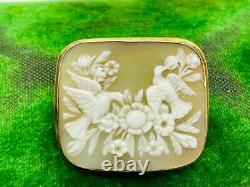 Victorian 14K Rose Gold Birds & Flowers Shell Carved Cameo Pin Brooch