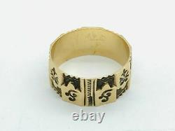 Victorian 14K Rose Gold Decorative Darkened Cigar Band Ring Antique
