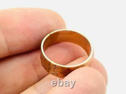 Victorian 14K Rose Gold Etched Decorative Wide Cigar Band Ring