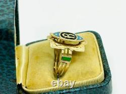 Victorian 14K Rose Gold R Signet Initial Enameled Ring