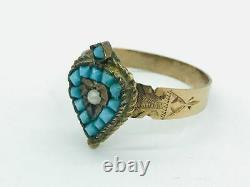 Victorian 14K Rose Gold Turquoise Seed Pearl Spade / Heart Ring