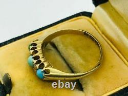 Victorian 18K Yellow Gold Turquoise Rose Cut Diamond English Antique Ring