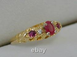 Victorian 18k Yellow Gold Ruby & Diamond Ringsize 4 3/4hallmarkedestate