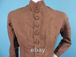 Victorian 2 Pc Bustle Dress W Striped Silk Ruffle Trimmed Skirt Estate Fresh