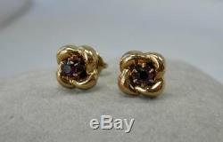 Victorian Amethyst Knot Earrings 10K Gold Antique Estate Jewelry Screw Back