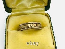Victorian Antique 10K Rose Gold Flower Decorated Cigar Band Ring