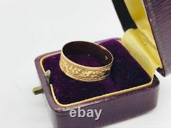 Victorian Antique 10K Rose Gold Grape Leaf Decorative Cigar Band Ring