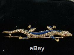 Victorian Antique 14k Gold Enamel Ruby Pearl Lizard Brooch-Estate Jewelry 8.2 g