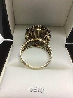 Victorian Antique 14k Yellow Gold Bohemian Garnet Ring Sz 8