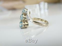 Victorian Antique 18K Gold Genuine Blue White Topaz Hallmarks Estate Ring Size 6