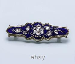 Victorian Antique Rose Cut Blue Diamond Enamel Brooch 18K Gold Estate