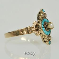 Victorian Antique Turquoise Seed Pearl Vertical 9k Gold RARE Unique Estate Ring