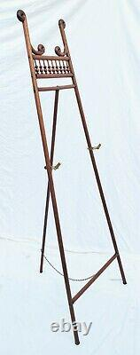 Victorian Bent Wood Stick and Ball Oak Easel Art Painting Display Stand